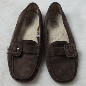 UGG Loafers Suede Moccasins Leather Brown